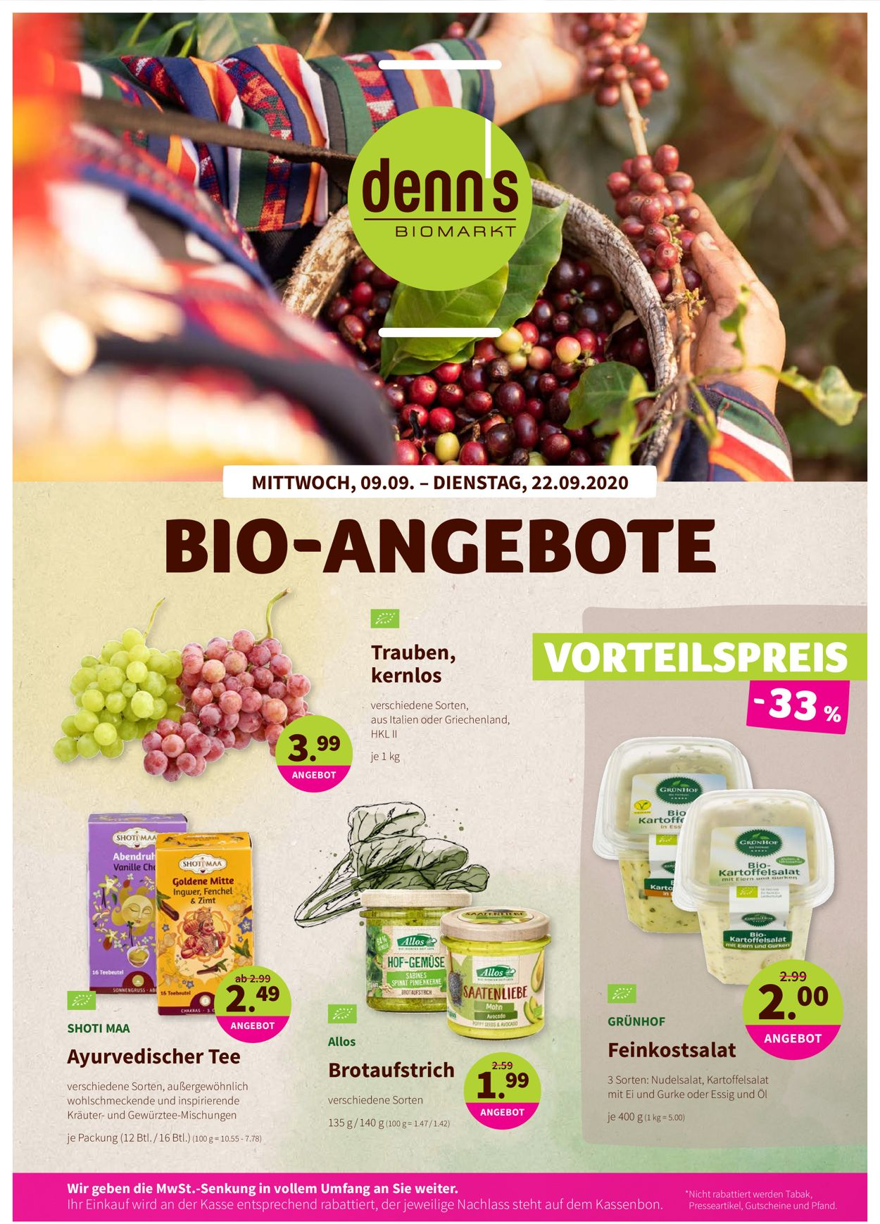 Prospekt Denn's Biomarkt vom 09.09.2020
