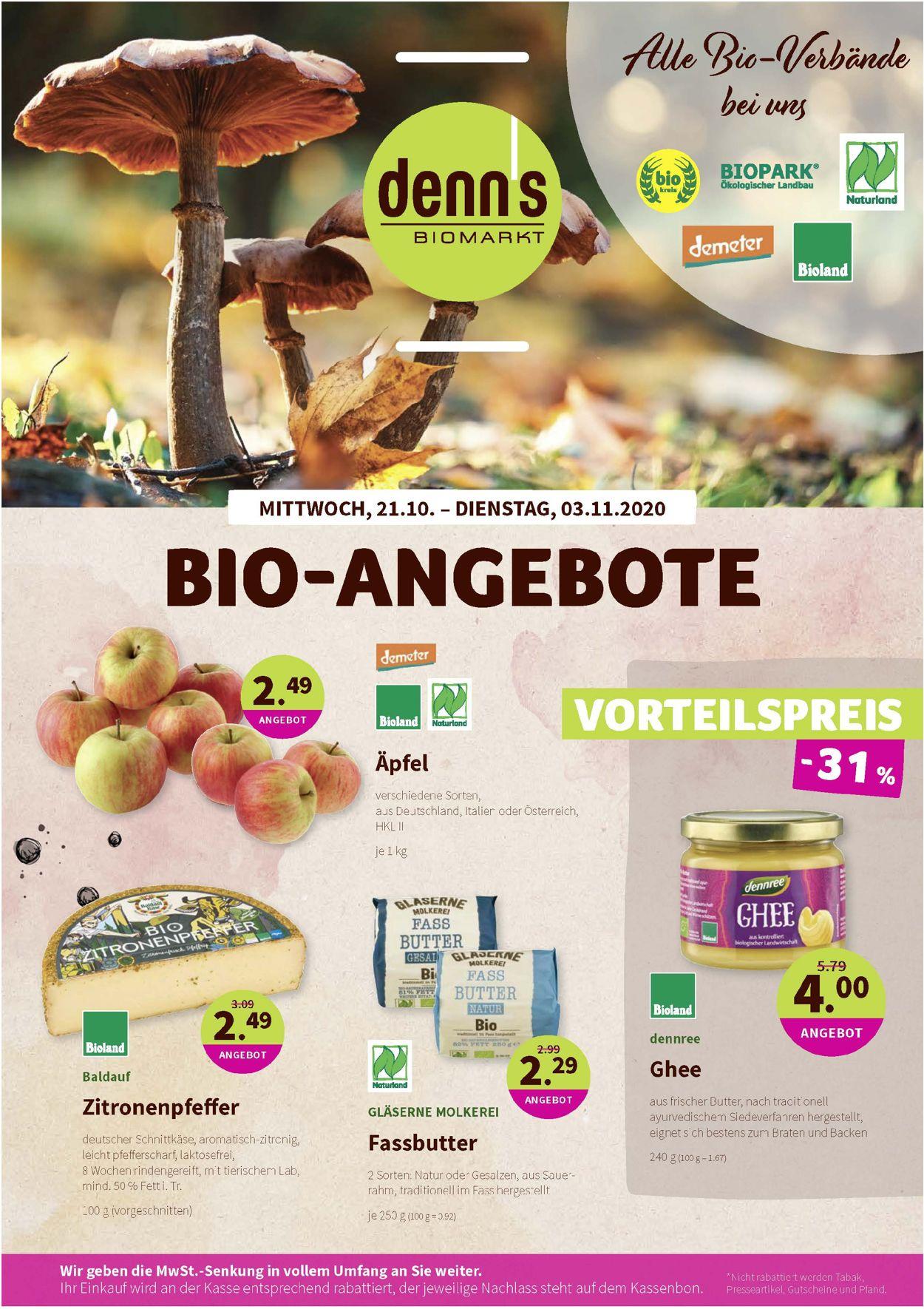 Prospekt Denn's Biomarkt vom 21.10.2020