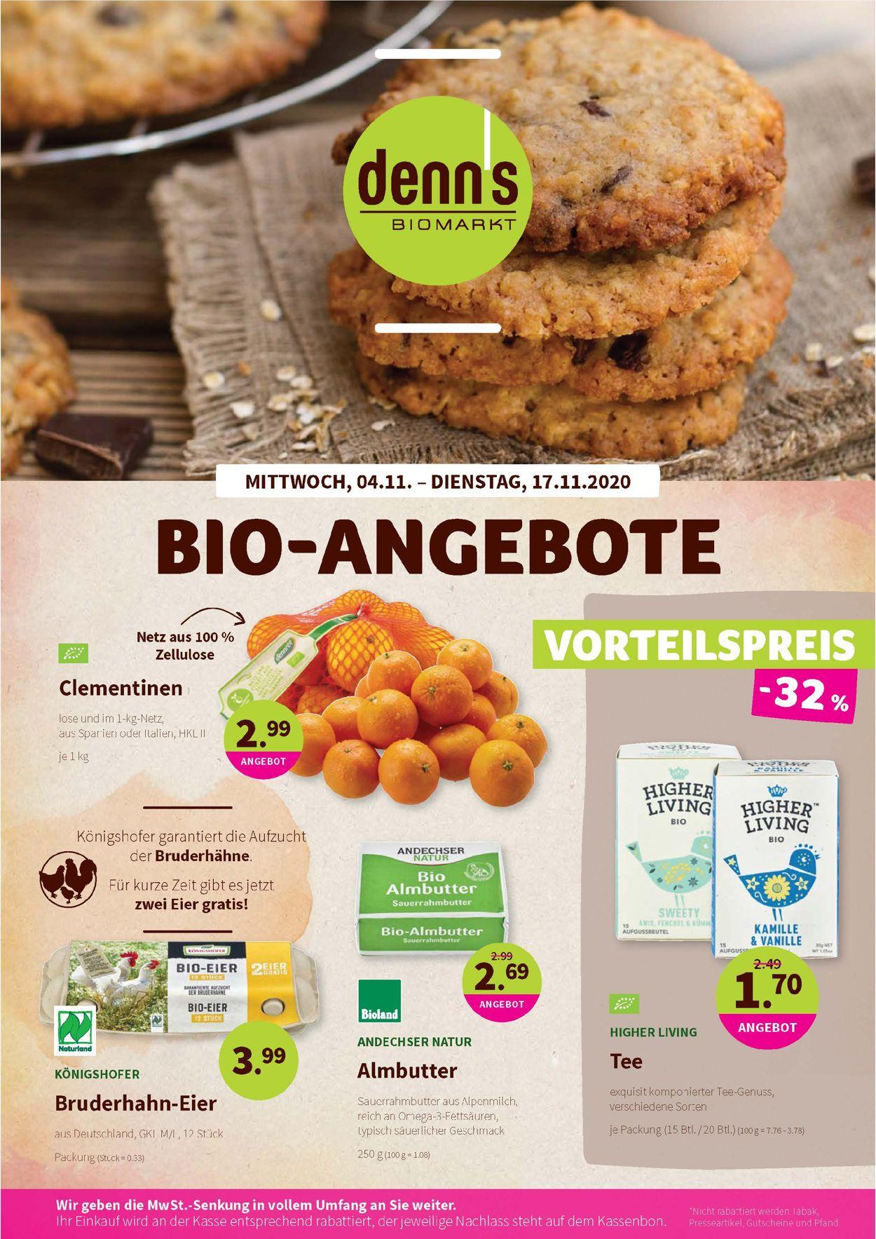 Prospekt Denn's Biomarkt vom 04.11.2020